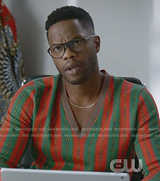 Jeff's red and green striped sweater on Dynasty