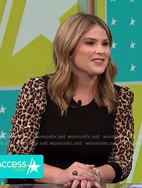 Jenna's leopard print sleeve sweater on Access Hollywood