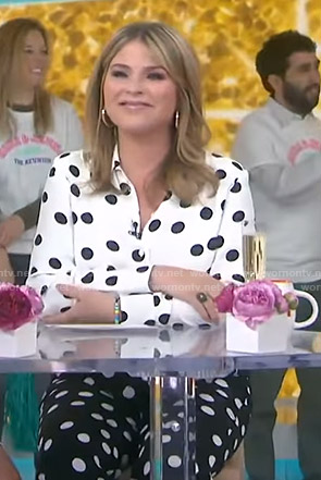 Jenna's white polka dot blouse and pants on Today