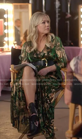 Jennie's green and gold maxi dress on BH90210