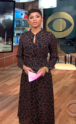 Jericka's black giraffe print shirtdress on CBS This Morning