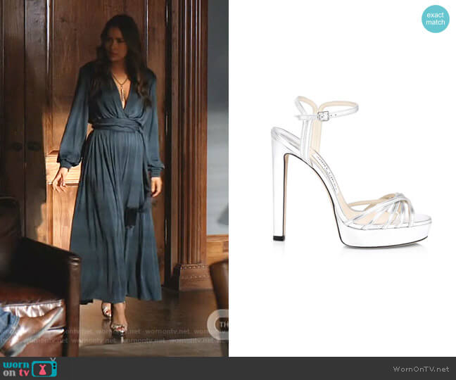 Lilah Platform Metallic Leather Sandals by Jimmy Choo worn by Cristal Jennings (Daniella Alonso) on Dynasty