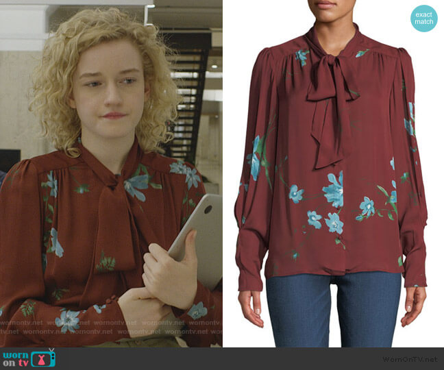 Angeletta Floral Tie-Neck Silk Blouse by Joie worn by Maddy (Julia Garner) on Modern Love