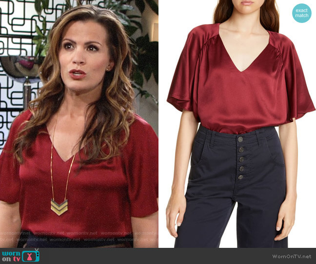 Joie Ankita Top in Garnet worn by Chelsea Lawson (Melissa Claire Egan) on The Young & the Restless