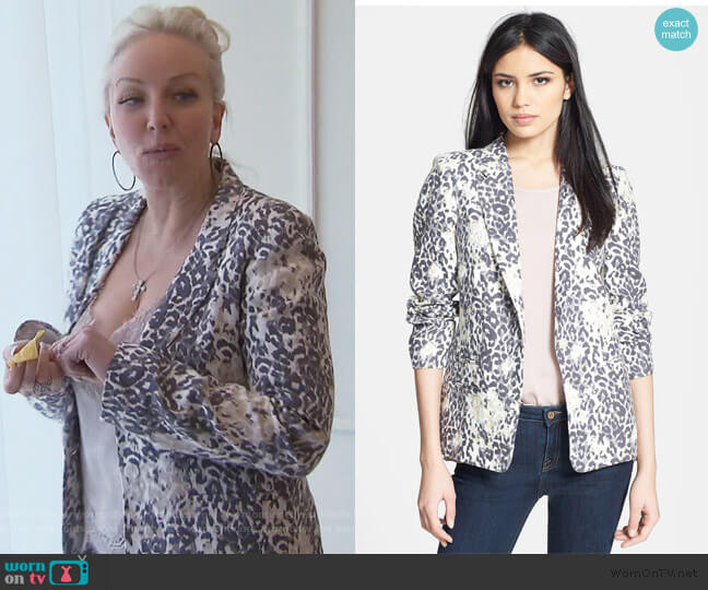 Mehira Animal Print Linen Blazer by Joie worn by Margaret Josephs  on The Real Housewives of New Jersey