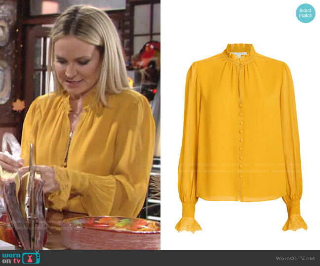 Jonathan Simkhai Silk Georgette Ruffled Blouse worn by Sharon Collins (Sharon Case) on The Young & the Restless