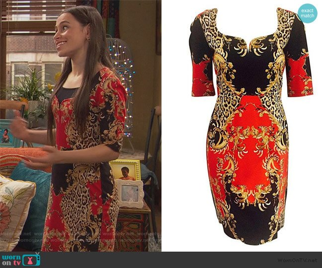 Baroque Leopard Print Short Sleeve Sheath by Just Cavalli worn by Tess O'Malley (Sky Katz) on Ravens Home