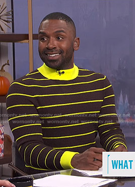 Justin's brown and yellow striped ribbed sweater on E! News Daily Pop