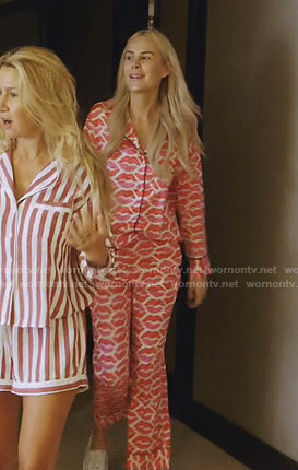 Kameron's pink lip print pajamas on The Real Housewives of Dallas