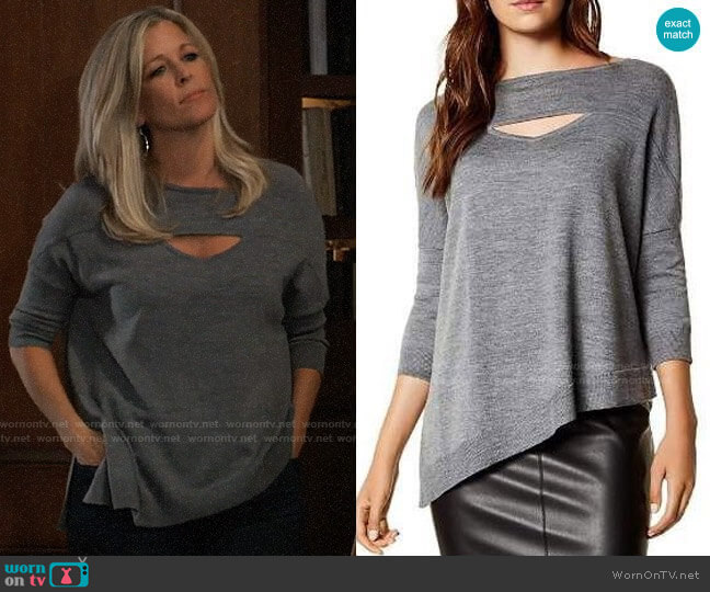 Karen Millen Asymmetric Cutout Wool Sweater worn by Carly Corinthos (Laura Wright) on General Hospital