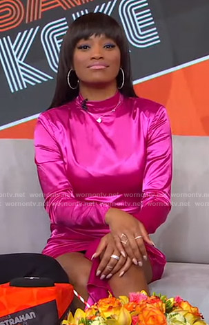 Keke's pink mock neck tie front dress on GMA Strahan Sara And Keke