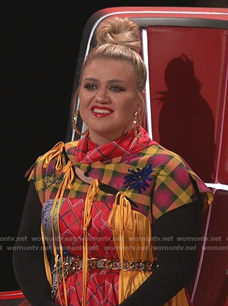 Kelly Clarkson's asymmetric patchwork dress on The Voice