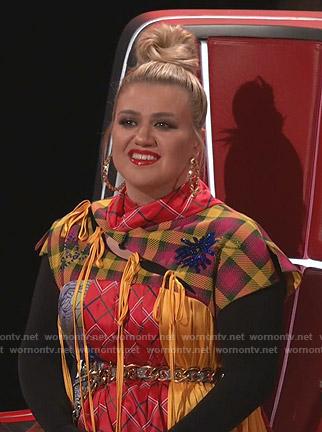Kelly Clarkson's asymmetric patchwork dress on The Voice