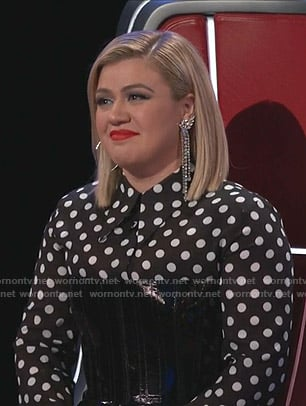Kelly Clarkson's black polka dot blouse on The Voice