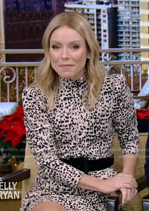 Kelly's white animal print mini dress on Live with Kelly and Ryan