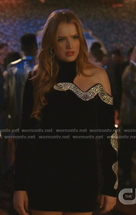 Kirby's black snake embroidered cutout dress on Dynasty