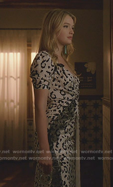 Kirby's white leopard print dress on Dynasty