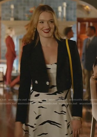 Kirby's white printed dress and black cropped jacket on Dynasty