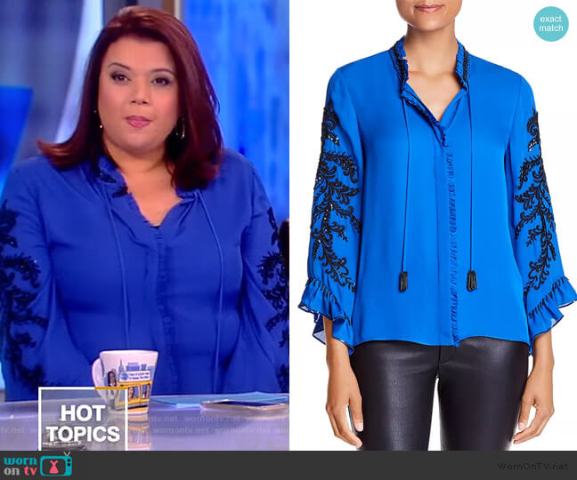 Margo Embellished Tie-Neck Long-Sleeve Silk Blouse by Kobi Halperin worn by Ana Navarro  on The View