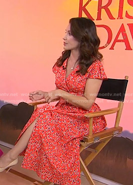 Kristin Davis's red floral midi dress on Today