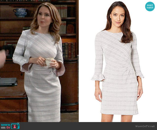 LAUREN Ralph Lauren Daria 167F Retro Knit Plaid Day Dress worn by Olivia Falconeri (Lisa Lo Cicero) on General Hospital