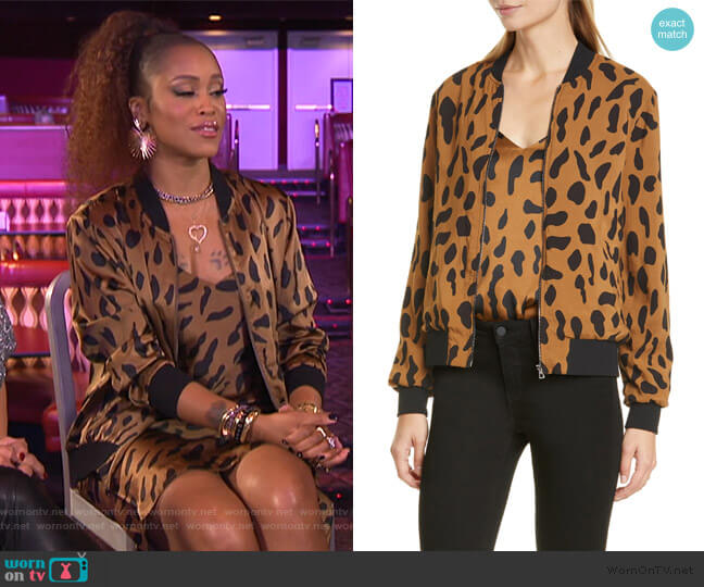 Ollie Cheetah Print Silk Bomber Jacket by L'Agence worn by Eve  on The Talk