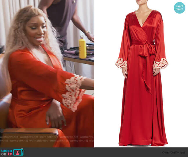 Maison Lace-Trim Long Robe by La Perla worn by Nene Leakes  on The Real Housewives of Atlanta