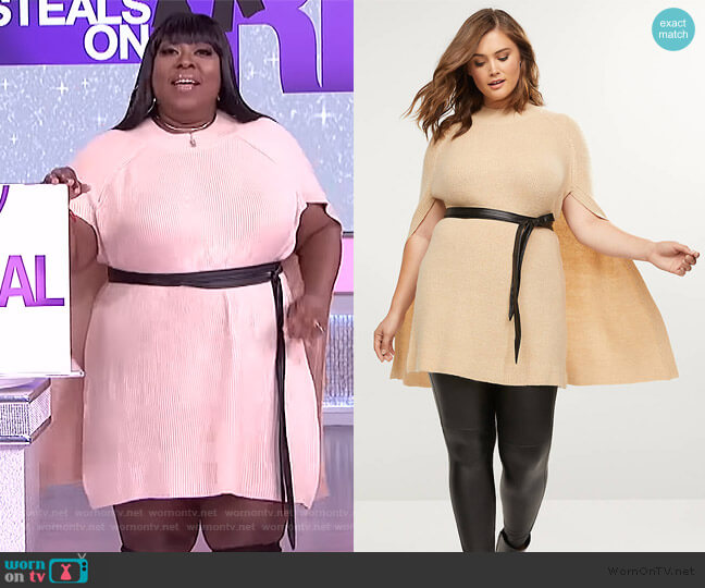 Belted Mock-Neck Cape by Lane Bryant worn by Loni Love  on The Real