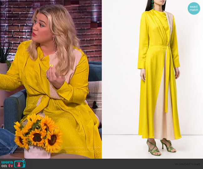 Colour-block Maxi Dress by Layeur worn by Kelly Clarkson  on The Kelly Clarkson Show