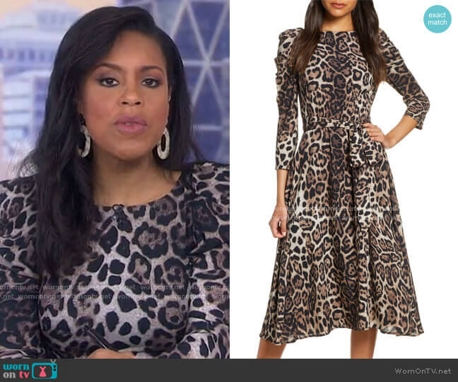 Leopard Print Long Sleeve Midi Dress by Eliza J worn by Sheinelle Jones  on Today