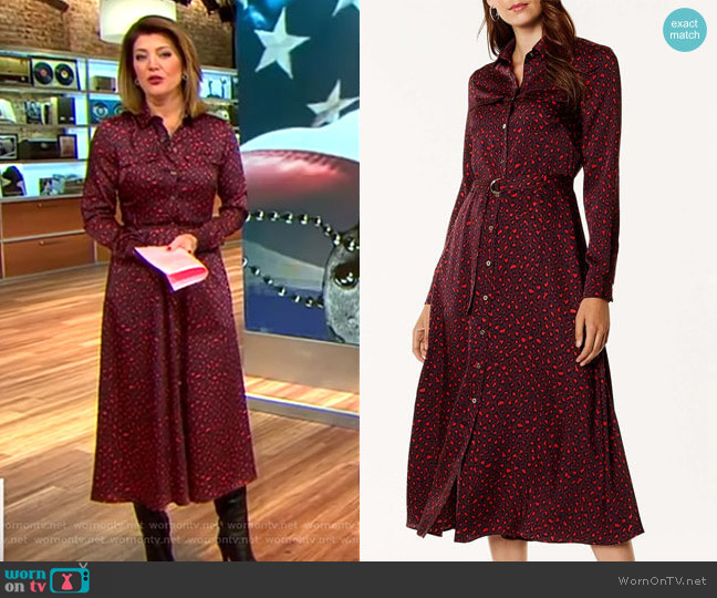Leopard Print Maxi Dress by Karen Millen worn by Norah O'Donnell  on CBS This Morning