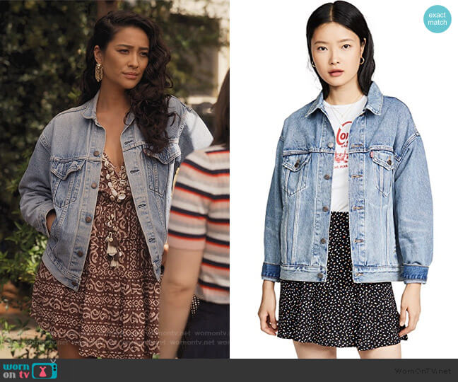 Dad Trucker Jacket by Levis worn by Stella Cole (Shay Mitchell) on Dollface