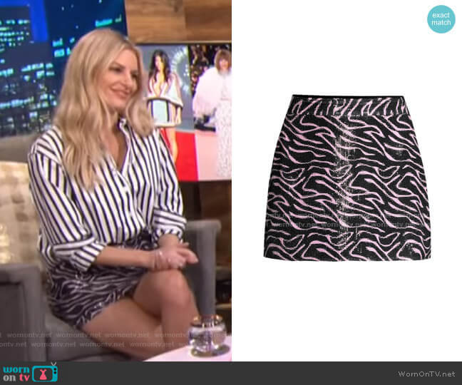 Libby Sequin Zebra Mini Skirt by Olivia Rubin worn by Morgan Stewart  on E! News
