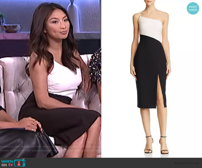 Cassidy Two-Tone One-Shoulder Midi Dress by Likely worn by Jeannie Mai  on The Real