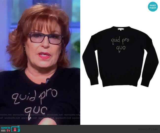 quid pro quo sweater by Lingua Franca worn by Joy Behar  on The View