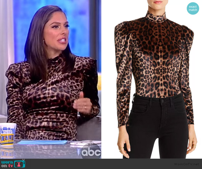 Gillian Puff-Sleeve Leopard Print Velvet Top by Lini worn by Abby Huntsman  on The View