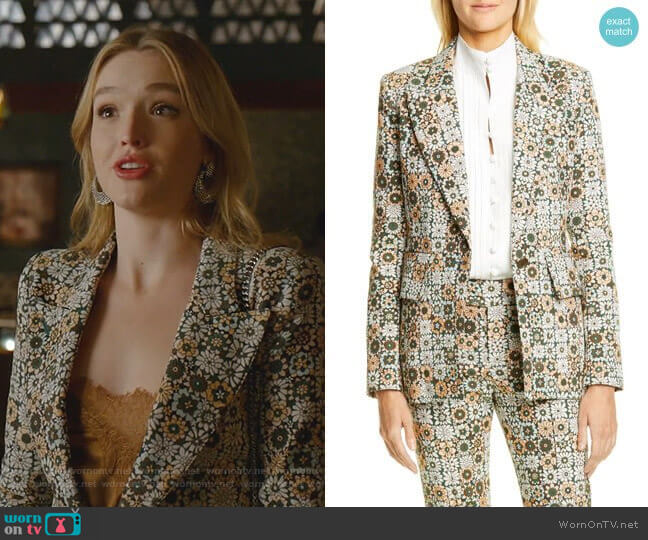 Lounge Blazer in Graphic Floral by Smythe worn by Kirby Anders (Maddison Brown) on Dynasty