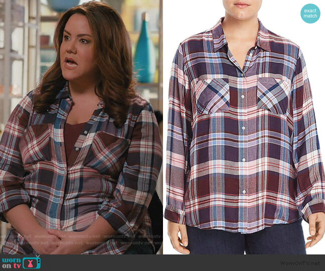 Classic Pleat Back Plaid Shirt by Lucky Brand worn by Katie Otto (Katy Mixon) on American Housewife