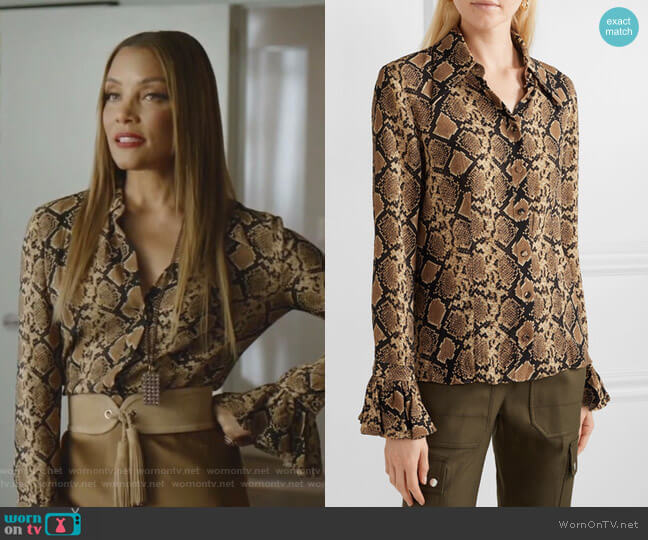 Snake-print crinkled silk-georgette blouse by Michael Kors worn by Dominique Deveraux (Michael Michele) on Dynasty