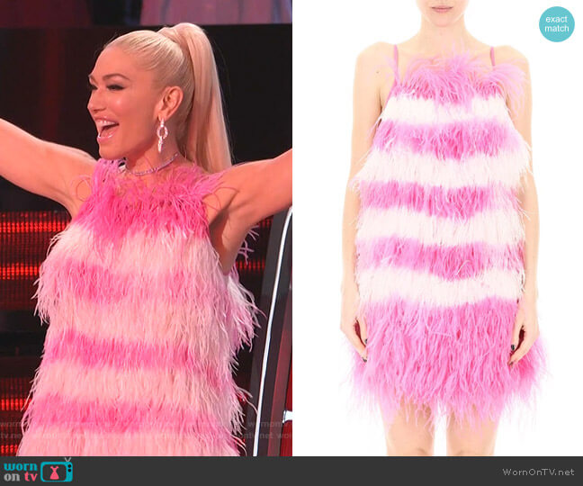 Feather Detail Mini Dress by MSGM worn by Gwen Stefani  on The Voice
