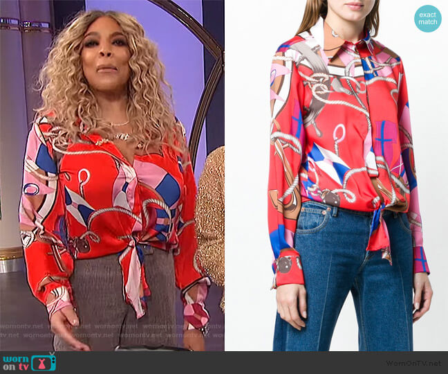 knot detail nautical print shirt by MSGM worn by Wendy Williams  on The Wendy Williams Show