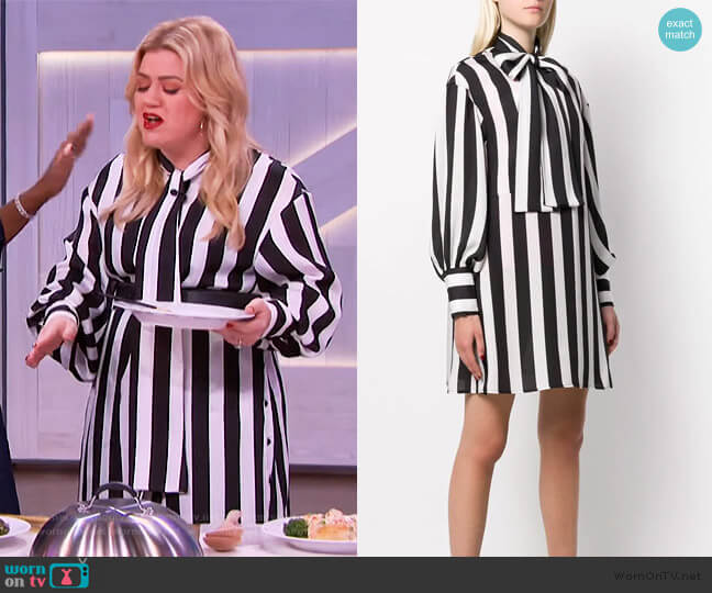 Striped Shirt Dress by MSGM worn by Kelly Clarkson  on The Kelly Clarkson Show