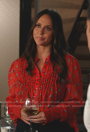 Maddie's red floral pintuck blouse on 9-1-1