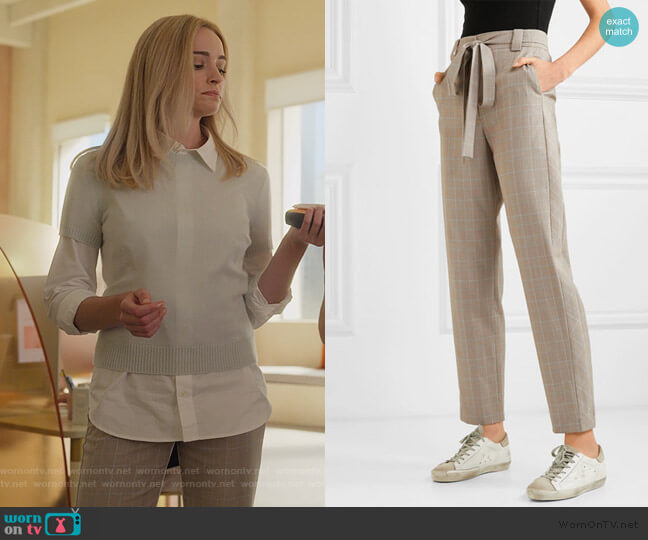 Belted checked woven tapered pants by Maje worn by Alison B (Brianne Howey) on Dollface