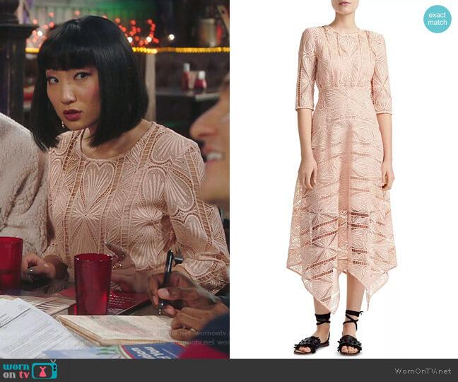 Ripaz Guipure Lace Dress by Maje worn by Mei Lin (Poppy Liu) on Sunnyside