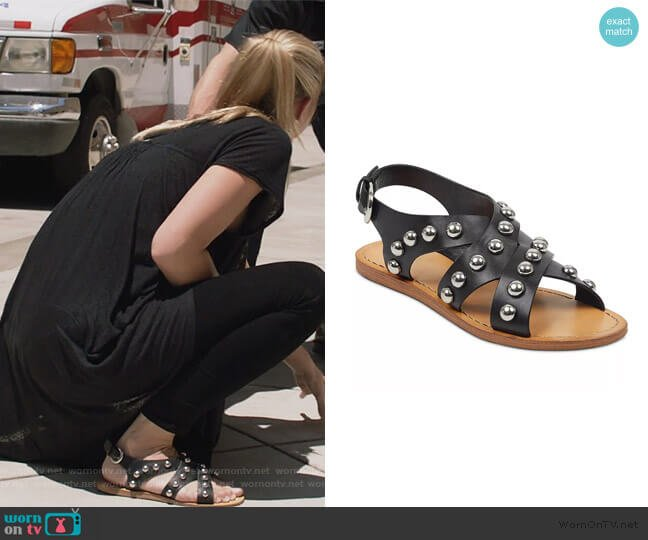 Prancer Studded Sandals by Marc Fisher worn by Kate Miner