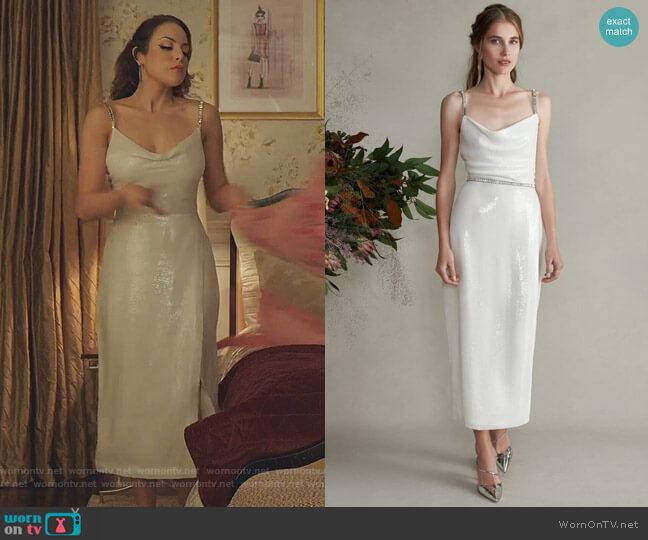 Venus Fitted Jeweled Cami Tea Length Dress by Markarian worn by Fallon Carrington (Elizabeth Gillies) on Dynasty