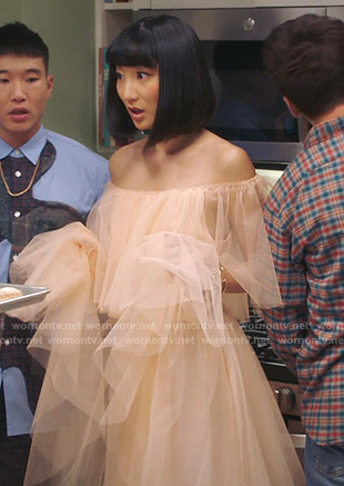 Mei's beige off-shoulder tulle dress on Sunnyside