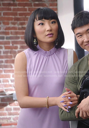 Mei's purple smocked neck sleeveless dress on Sunnyside