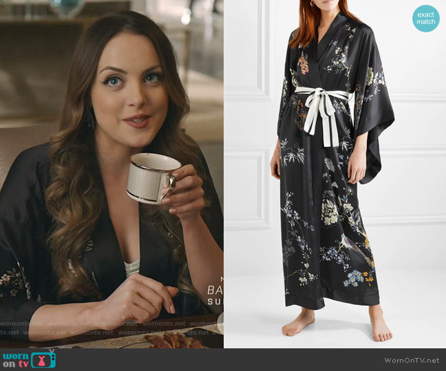Floral Print Silk Satin Robe by Meng worn by Fallon Carrington (Elizabeth Gillies) on Dynasty